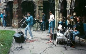 Playing my Aria Bass with Dynamis at Canterbury Cathedral Easter Youth Pilgrimage 1986